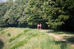 夫妇赛跑者连续城市公园 免版税库存照片