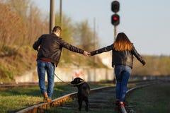 夫妇走在胳膊的胳膊有在一条铁路轨道的一条狗的 从后面的看法 免版税图库摄影