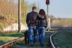 夫妇走在胳膊的胳膊有在一条铁路轨道的一条狗的 从后面的看法 库存图片