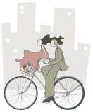 夫妇走的自行车 免版税图库摄影
