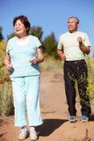夫妇跑步的前辈 免版税库存照片