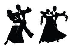 夫妇跳舞剪影向量 免版税库存图片