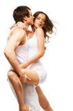 夫妇跳舞和亲吻 库存照片