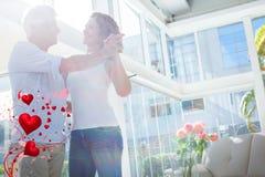 夫妇跳舞和华伦泰心脏3d的综合图象 免版税库存图片