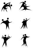 夫妇跳舞形象集合棍子 库存照片