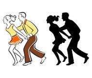 夫妇跳舞摇摆 免版税库存图片