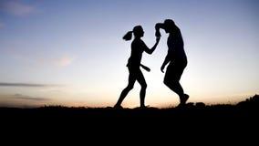 夫妇跳舞的剪影反对蓝天的 免版税库存照片