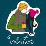 夫妇逗人喜爱的得出的现有量样式冬&# 免版税图库摄影