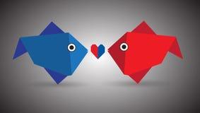夫妇钓鱼origami 免版税库存图片
