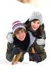 夫妇雪撬 免版税库存图片