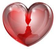 夫妇面对心脏 库存照片