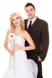 夫妇领巾水晶珠宝附加婚礼 新娘新郎愉快的纵向 库存图片