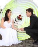 夫妇领巾水晶珠宝附加婚礼 图库摄影