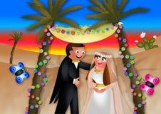 夫妇领巾水晶珠宝附加婚礼 库存例证