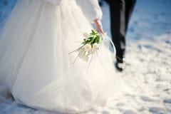 夫妇领巾水晶珠宝附加婚礼 免版税库存照片