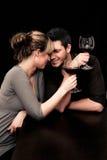夫妇餐馆酒 免版税库存图片