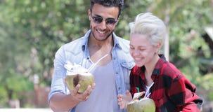 夫妇饮料椰子鸡尾酒谈话在棕榈树、愉快的人和妇女微笑的游人通信 影视素材
