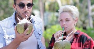 夫妇饮料椰子鸡尾酒谈话在棕榈树、愉快的人和妇女微笑的游人通信 股票录像