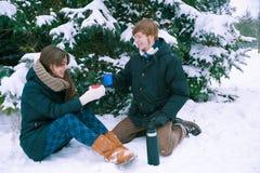 夫妇饮用的茶在冬天 免版税库存照片