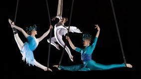 年轻夫妇马戏空气体操运动员 库存照片