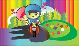 夫妇骑马滑行车 免版税库存照片