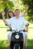 夫妇骑马 库存照片