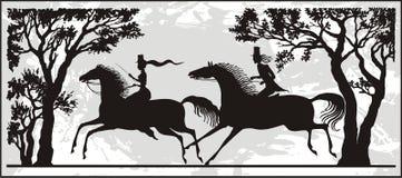 夫妇骑马 皇族释放例证