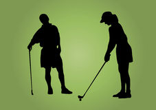 夫妇高尔夫球 皇族释放例证