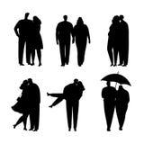 夫妇黑剪影的汇集在爱的 也corel凹道例证向量 库存例证