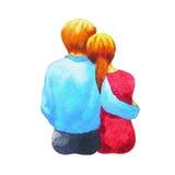 夫妇绘浪漫一起坐的恋人水彩 免版税库存图片