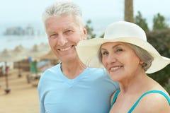 夫妇临近水池 免版税库存照片
