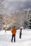 夫妇滑雪的背面图 免版税库存图片