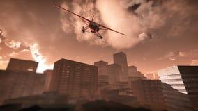 失事在摩天大楼城市的飞机 免版税图库摄影