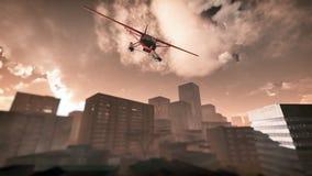 失事在摩天大楼城市的飞机 免版税库存图片