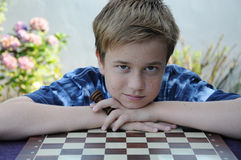 失望的下象棋者 库存图片