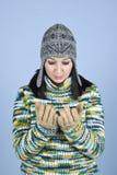 失望的女孩冬天 库存图片