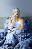 失眠妇女 免版税库存照片