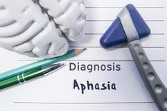 失语症神经学诊断  神经学反射锤子,脑子的形状,笔和书写说谎在一个医疗报告, l 图库摄影