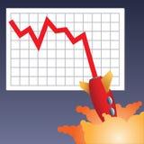 失败企业的图表下来 免版税库存图片