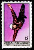 失重测试, 10年Crewed宇宙飞行serie,古巴人大约1971年 免版税库存照片