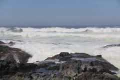 失败在多岩石的海滩的通知 免版税库存照片