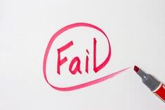 失败在纸的手文字 库存照片