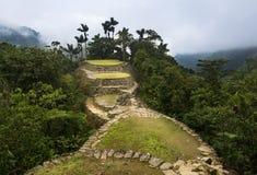 失去的城市Ciudad Perdida废墟在圣玛尔塔内华达山脉 免版税库存图片