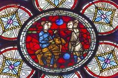 失去的绵羊寓言耶稣彩色玻璃Notre Dame巴黎法国 库存照片