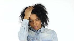 失败,黑人妇女的损失白色背景的 影视素材