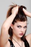 头发增强妇女年轻人的她 库存图片