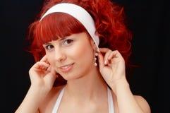 头发夫人红色年轻人 库存图片