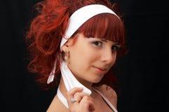 头发夫人红色年轻人 免版税库存照片