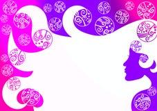 头发妇女泡影墙纸背景 向量例证