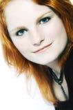 头发的模型纵向红色 免版税库存照片